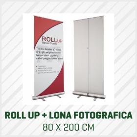 ROLL UP BANNER [ 80 X 200 CM ] lona fotografica + suporte 80x200 4/0  Produto de Excelente qualidade super leve e compacto
